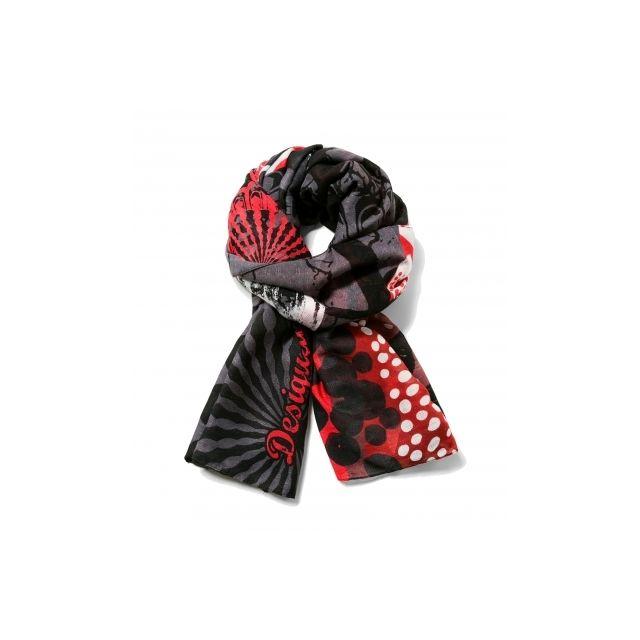 4718f0e8aed2 Desigual - Foulard Rectangle Kisses nc - pas cher Achat   Vente Echarpes,  foulards - RueDuCommerce