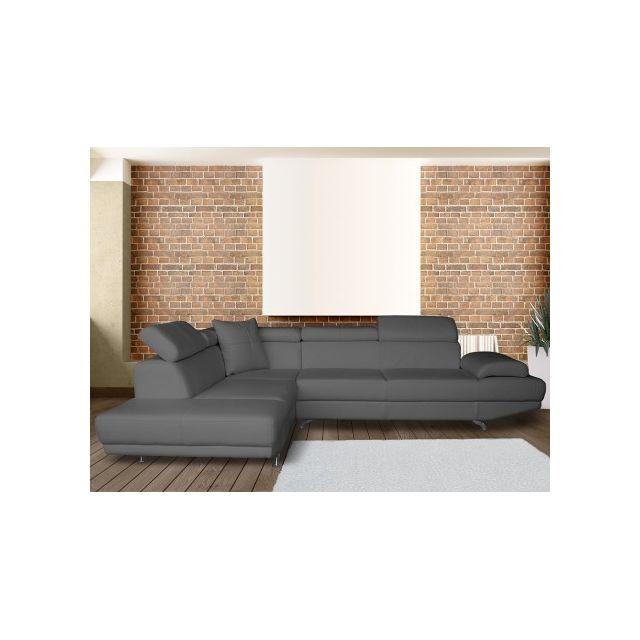 Canapé d'angle XL en simili ROMAIN - Taupe - Angle gauche