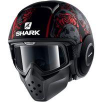 Shark - casque jet moto scooter Drak Raw Sanctus Kra noir gris rouge mat Xl