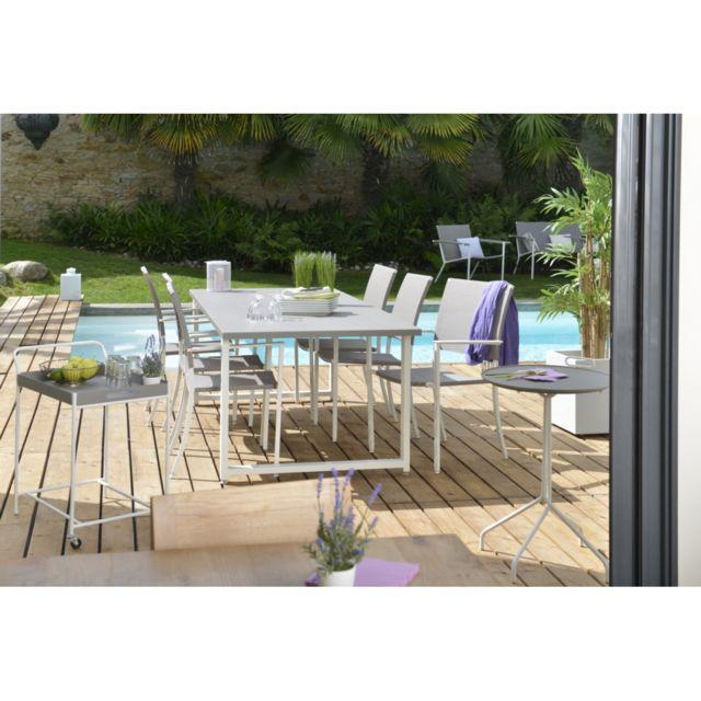 Table rectangulaire Soraya Dimensions: L.220 x l.90 x H.74 cm. Structure en acier galvanisé, coloris blanc coton; platea