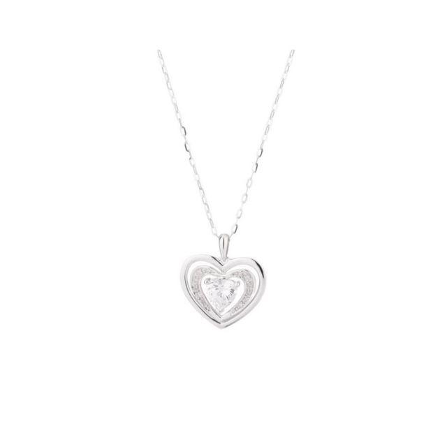 Monte carlo star Collier Coeur Or Blanc 375° Diamants et