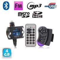 Yonis - Transmetteur Fm Bluetooth télécommande voiture kit main libre 4 Go