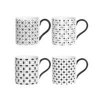 Table Passion - Mug en grès 34cl motif graphique blanc / noir - Coffret de 4 pièces Optik