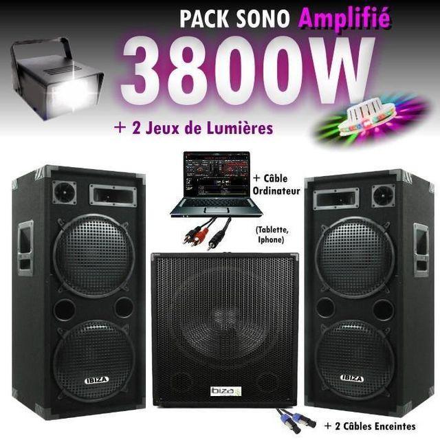 Ibiza Sound Pack sono dj 4800w cube 1512 avec caisson - encentes - cables hp et pc - jeux de lumière strobo led pa dj led light soun