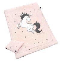 Sevira Kids - Couette et oreiller enfant 2 en 1 prêt à dormir - Licorne rose