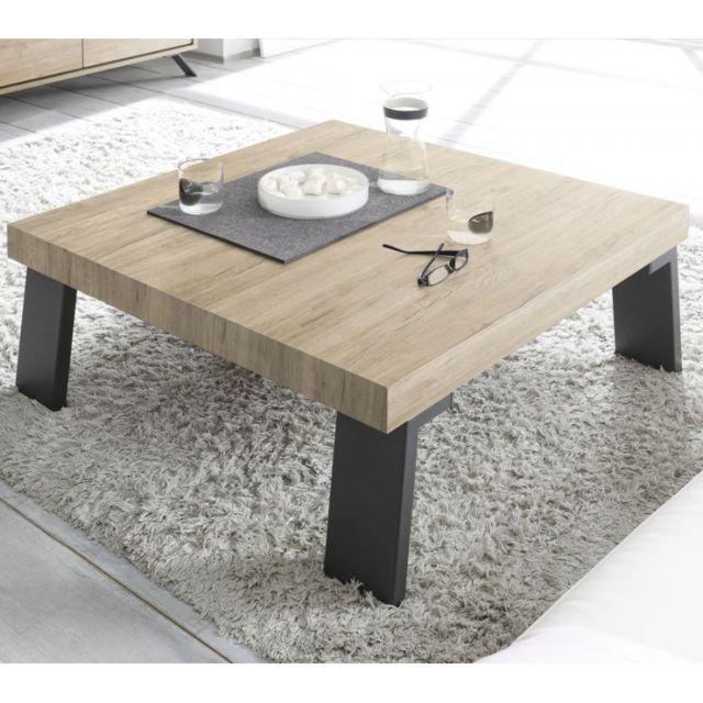 Tousmesmeubles Table basse carrée Chêne clair/Métal - Palerme