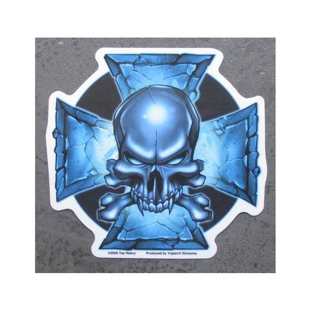 Universel Sticker crane et croix malte bleu tete de mort autocollant