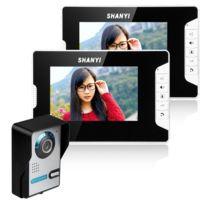 Auto-hightech - Vidéo Interphone 7 Pouces pour Porte Kit composé d'une Caméra et de 2 Moniteurs avec Vision Nocturne