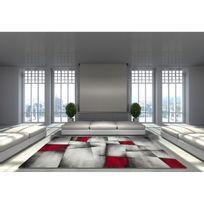 Allotapis - Tapis avec effet 3D vintage rouge pour salon Crystal