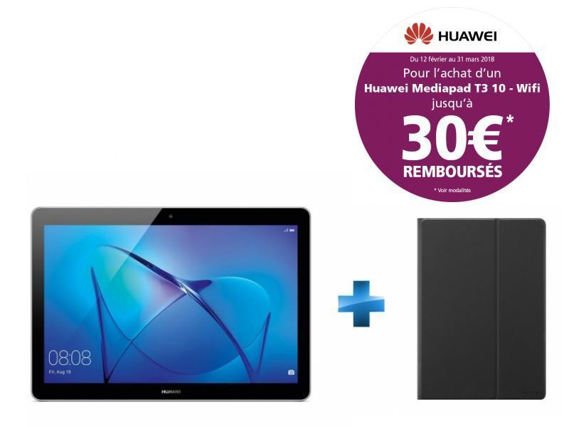 MediaPad T3 10 - 9.6'' HD IPS - 16 Go - Gris + Cover T3 10'' Flip Cover Black