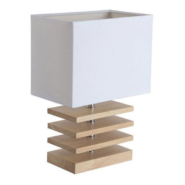 Corep - Lampe à poser pied rectangle en bois avec abat jour en lin hauteur 30cm Otta - Blanc 0cm x 0cm x 0cm