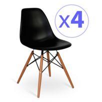 Novara Mobili - Pack 4 chaises Wood Style Noir avec pied en bois de hêtre