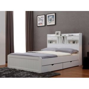 vente unique lit mederick avec rangements 140x190cm pin blanc pas cher achat vente. Black Bedroom Furniture Sets. Home Design Ideas