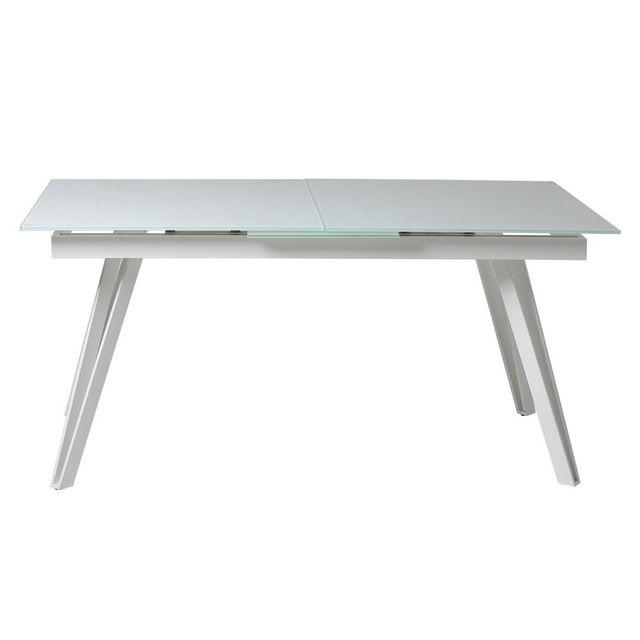 Kaligrafik Table de salle à manger extensible en verre et métal L160/200cm Elisa