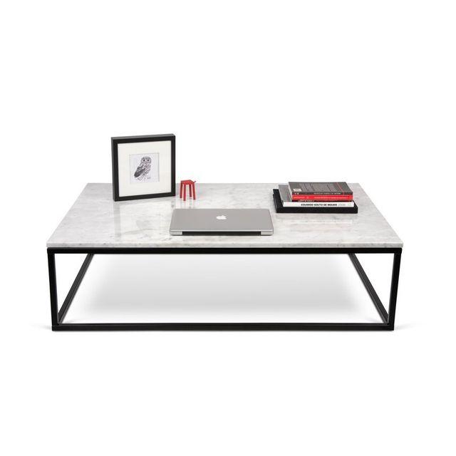 paris prix temahome table basse 120cm prairie marbre blanc m tal noir pas cher achat. Black Bedroom Furniture Sets. Home Design Ideas