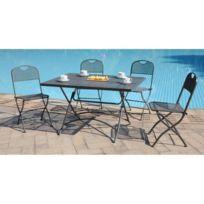 Finlandek Ensemble table de jardin 120 + 4 chaises gris - Hieno
