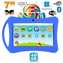 Yonis - Tablette enfant 7 pouces Android 5.1 Bluetooth Quad Core 40Go Bleu