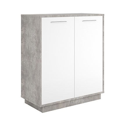 Commode 2 portes en décor blanc et béton