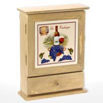 Revimport - Boite à clés bois 1 tiroir décor Vendanges