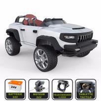 Cristom - 4x4 électrique de luxe 24V pour enfant Henes Broon T870 tablette tactile, télécommande Bluetooth ® blanc