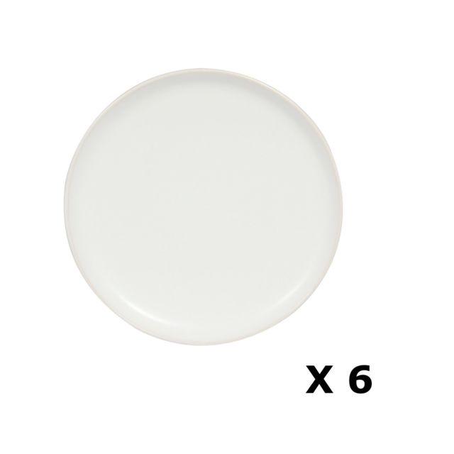 Novastyl 6 Assiettes à dessert en faïence Togo - Diam. 20 cm - Blanc uni