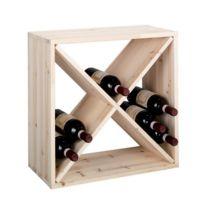 Zeller - Casier à bouteilles de vin cube croix bois