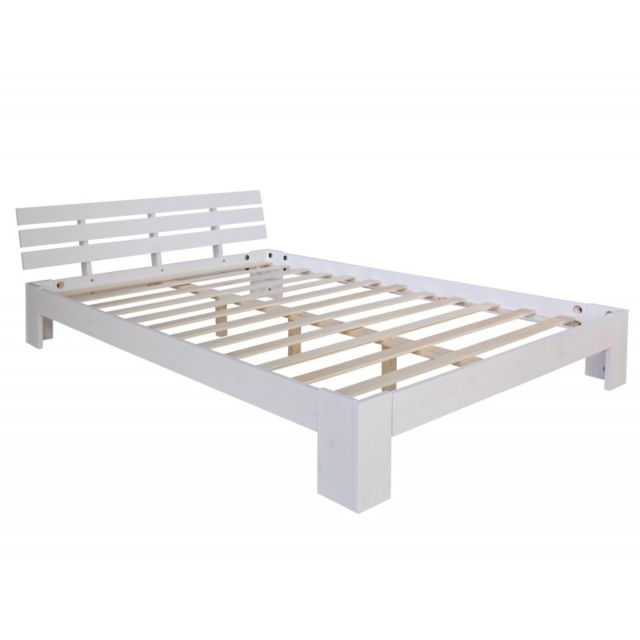 Decoshop26 Lit double 2 personnes avec sommier à lattes en bois blanc 140x 200cm Lit06147