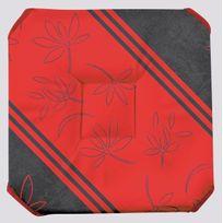 Le Linge De Jules - Galette de chaise anti-taches à rabats Lotus Lignes rouge