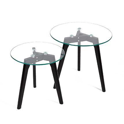 Lot de 2 tables en verre avec pieds chêne noir