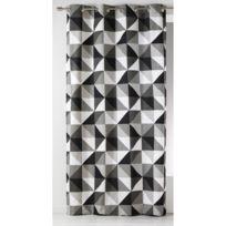 Home Maison - Rideau à œillets tamisant polyester triangle géométrique noir/blanc 135x260cm Skandic