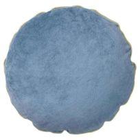 Bloomingville - Coussin Rond 45 cm - Velours Bleu / Coton Gris