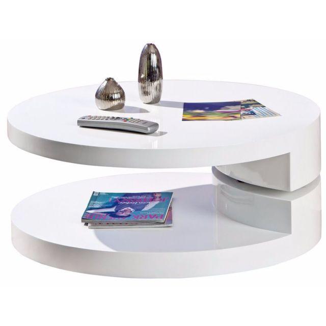 Comforium Table basse ronde à 3 plateaux pivotants coloris blanc