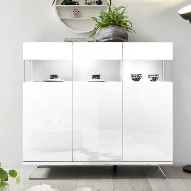 Sofamobili Argentier design blanc laqué avec Led Rosini 2