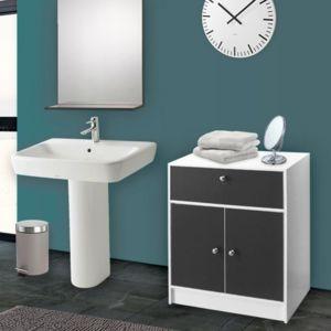 idmarket meuble bas de salle de bain blanc et gris commode de rangement pas cher achat. Black Bedroom Furniture Sets. Home Design Ideas