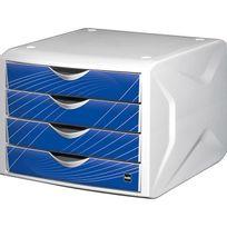 Helit - Module de rangement à 4 tiroirs - décor bleu knight