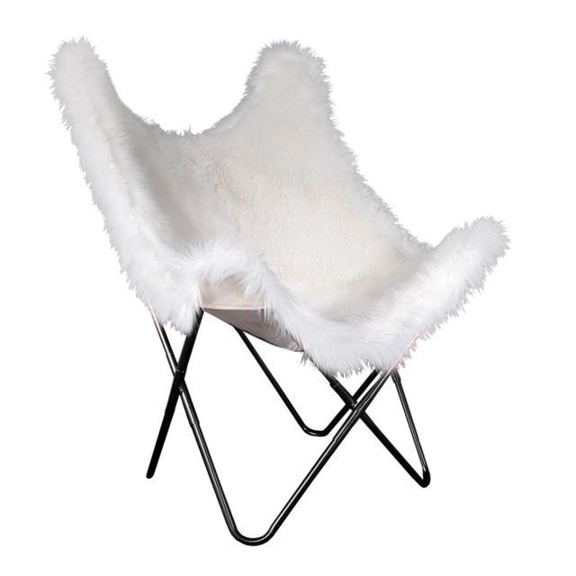 The Concept Factory Fauteuil Papillon Fourrure Blanc Pieds noir