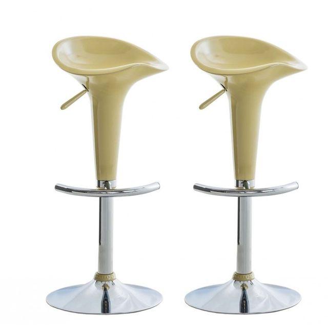 Decoshop26 Lot de 2 tabourets de bar design crème pivotant