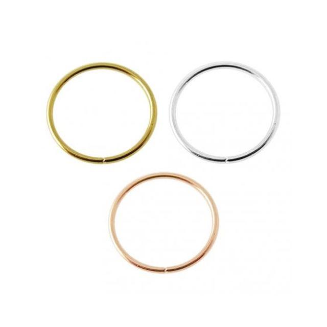 Sans Marque Bijou Pierre Précieuse Piercing De Nez Anneau Sans Soudure En Or 14 carats, Diamètre 8 mm Coffret 3 Anneaux