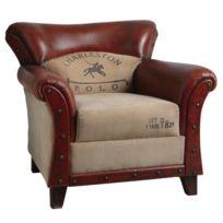 AUBRY GASPARD - Fauteuil en coton et cuir Charleston polo