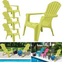 Idmarket - Fauteuil chaise de jardin confort lot X4 vert