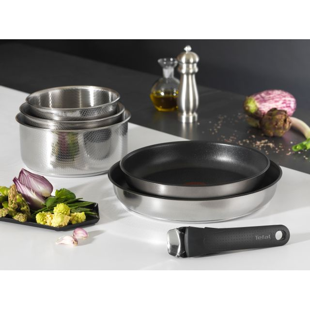 TEFAL - Set Ingenio Création 4 pièces : 3 casseroles inox 16/18/20cm - L9369502
