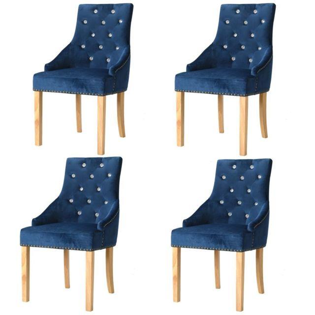 Chaise de salle à manger 4 pcs Chêne massif et velours bleu Chaises de cuisine et de salle à manger   Bleu   Bleu