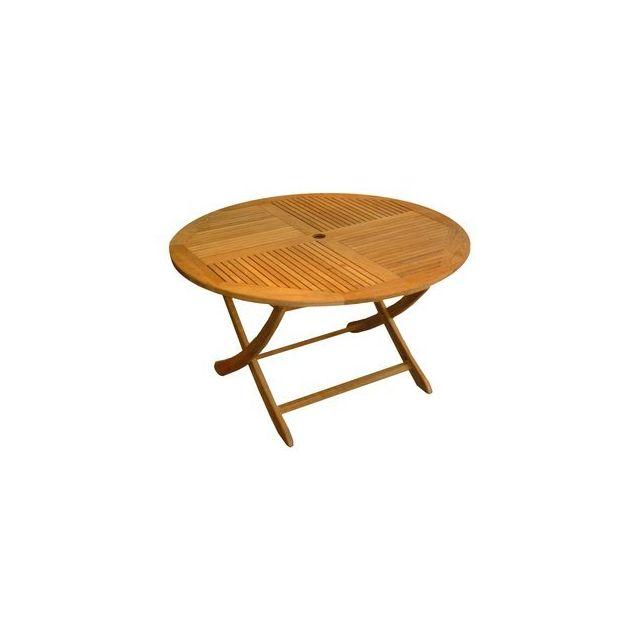 Delamaison - Table ronde pliante en teck Bucy - D120cm - pas cher ...