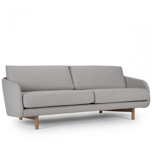 INSIDE 75 Canapé 3 places TREND tissu gris clair piétement chêne clair