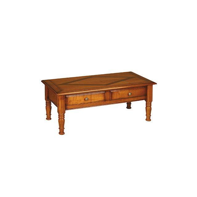 Table basse 2 tiroirs en merisier massif Style Louis Philippe