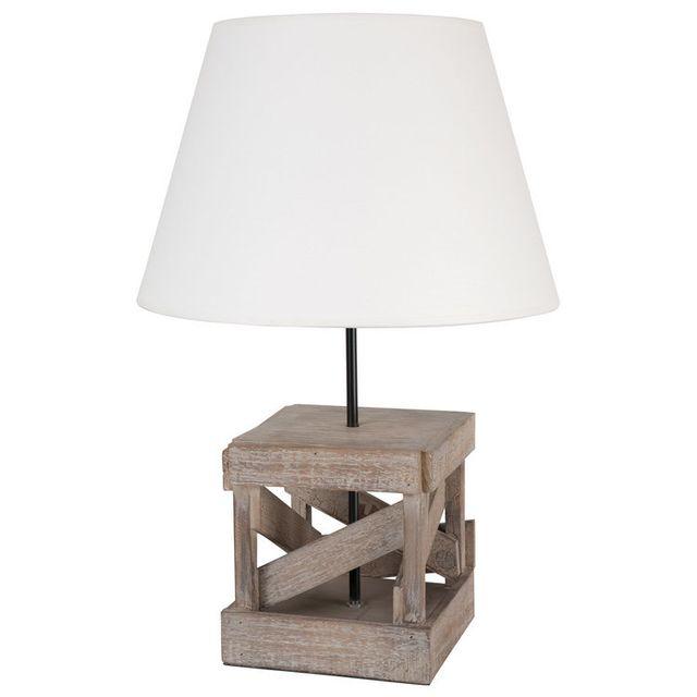 Corep Lampe à poser pied carré en bois avec abat jour