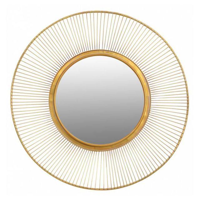 L'HÉRITIER Du Temps Superbe Miroir Lotus Marque Signature Glace Reflet Ronde Forme Soleil Décoration Murale en Métal Doré 4x93x93cm