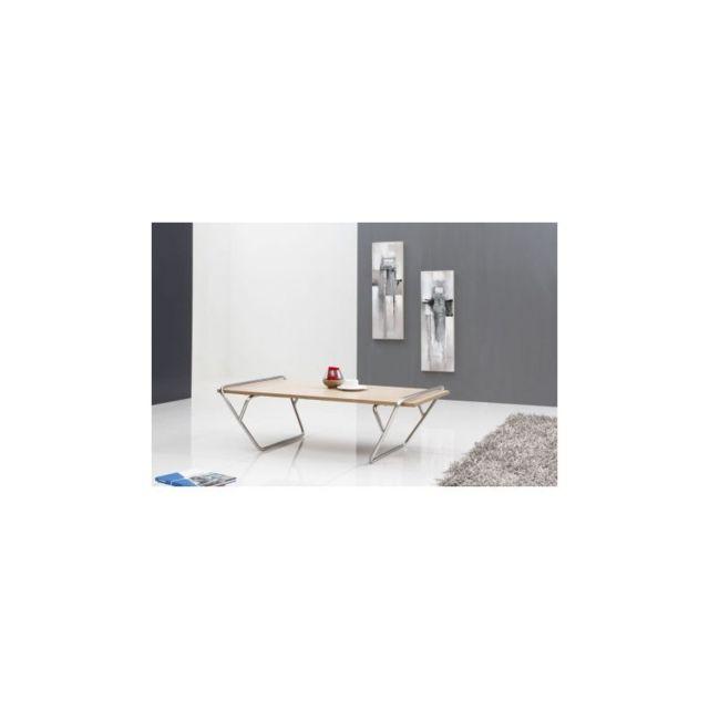 Meubletmoi Table basse frêne/métal - Maty