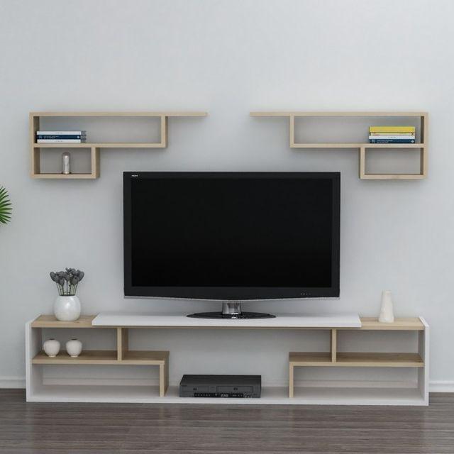 Homemania Istanbul Meuble Tv avec étagères, portes, tablettes - du salon -blanc, Chêne en Bois, 180 x 29,5 x 36,8 cm