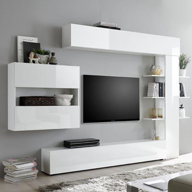Kasalinea Ensemble meubles tv laque blanc Soprano